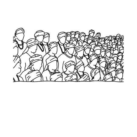 crowd of indian people background vector illustration sketch hand drawn with black lines, isolated on white background Illustration