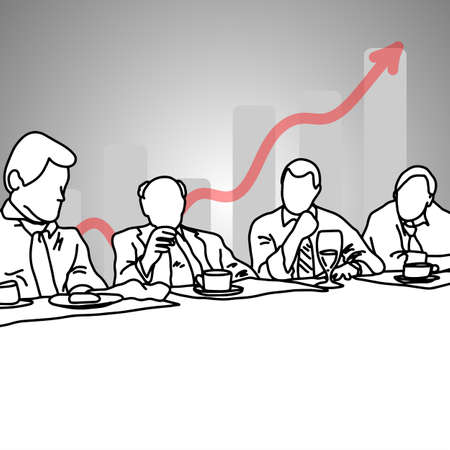 four business people talking to each other in meeting room with gray graph up  vector illustration doodle sketch hand drawn with black lines isolated on gray background. Business concept.  Illustration