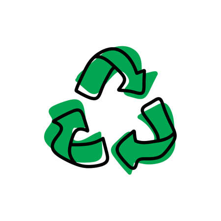 Green recycle vector illustration, sketch hand drawn with black lines isolated on white background