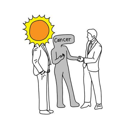Metaphor of the sun introducing cancer to a man vector illustration 일러스트