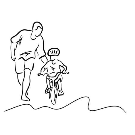 father teaching his son to ride a bicycle illustration sketch with black lines isolated on white background