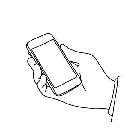 Hand of businessman holding smartphone vector illustration sketch hand drawn with black lines isolated on white background Ilustração