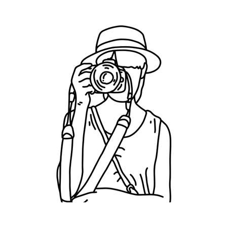 Woman tourist taking photos illustration sketch hand drawn with black lines isolated on white background Illustration