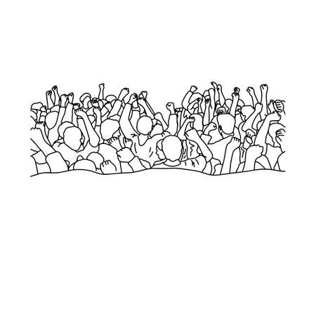 Drawing crowd of people raise their hands over heads vector illustration sketch hand drawn with black lines isolated on white background