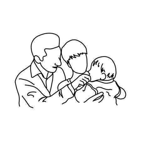 father and mother holding their baby in arms illustration sketch hand drawn with black lines, isolated on white background. family concept.