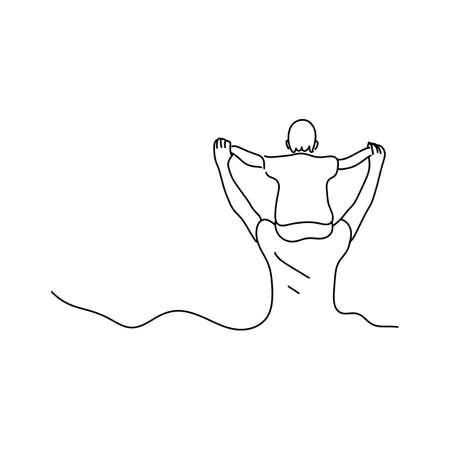 father holding his son on his neck vector illustration sketch hand drawn with black lines isolated on white background with copyspace