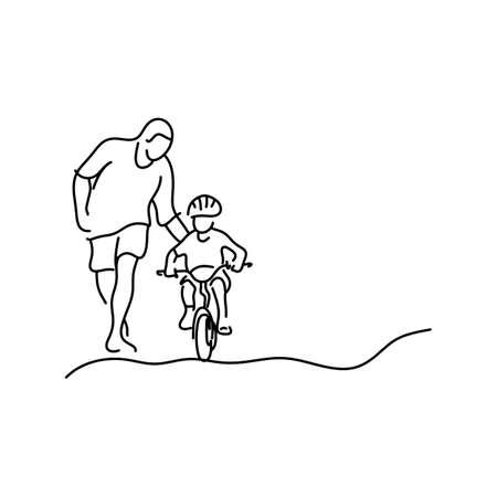 白い背景に黒い線で描かれた自転車イラストスケッチの手に乗るために安全ヘルメットで娘を教えるミニマリストの父親。テキストのコピースペース。 写真素材 - 104545570
