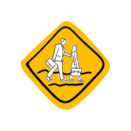 School road warning sign illustration sketch hand drawn with black lines isolated on white background