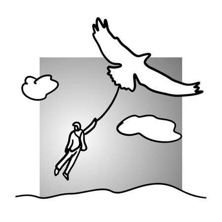 businessman flying with bird or eagle vector illustration doodle sketch hand drawn with black lines isolated on gray background.freedom concept.