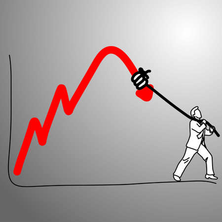 someone making graph falling down with rope vector illustration doodle sketch hand drawn with black lines isolated on gray background. Business concept.