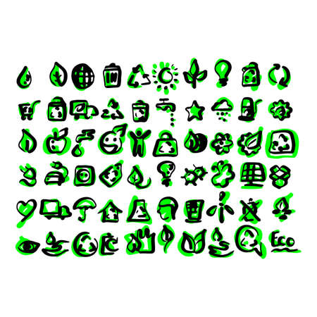 Ecology icons set vector illustration sketch hand drawn with black lines isolated on white background