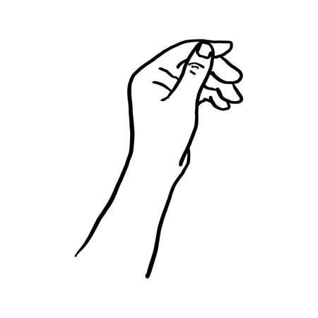 Doodle hand holding something vector illustration sketch hand drawn with black lines isolated on white background