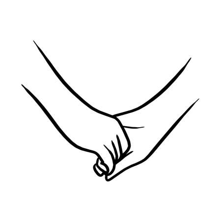 holding hand of lovers vector illustration sketch hand drawn with black lines isolated on white background