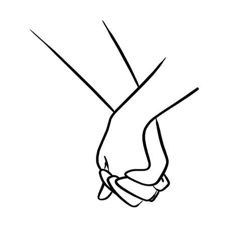 close-up lover holding hand vector illustration sketch hand drawn with black lines isolated on white background