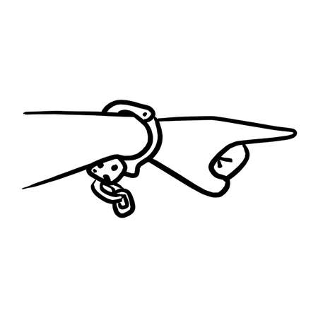 hand with cuff pointing vector illustration sketch hand drawn with black lines isolated on white background