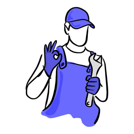 Auto service or repairman with the wrench vector illustration sketch hand drawn with black lines isolated on white background Illustration