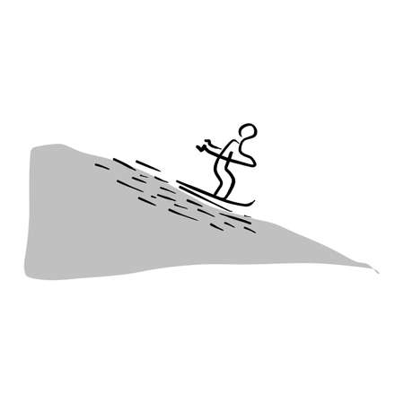 Man skiing sliding from the mountain vector illustration sketch hand drawn