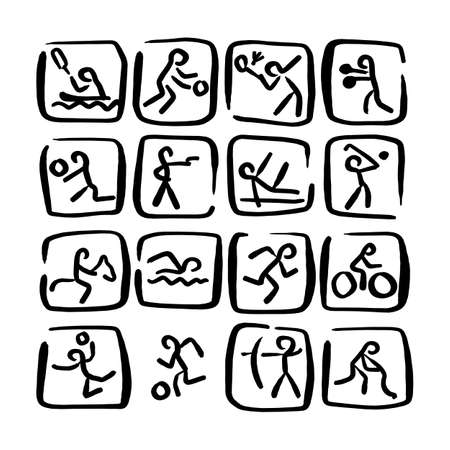 set doodle sport icons vector illustration sketch hand drawn with black lines isolated on white background Ilustracja