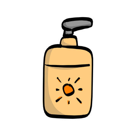 Sunscreen lotion in pump bottle vector illustration. Sketch hand drawn with black lines, isolated on white background.