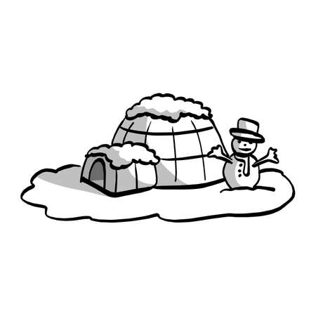 igloo with snowman vector illustration sketch hand drawn with black lines isolated on white background