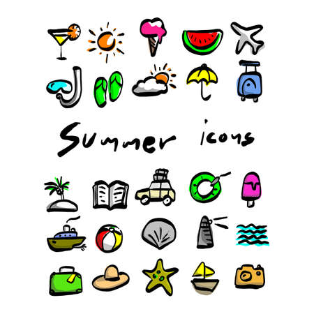 colorful summer icons vector illustration sketch hand drawn with black lines isolated on white background