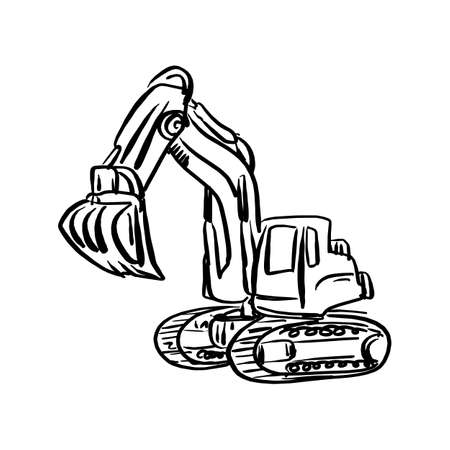 Doodle excavator backhoe vector illustration sketch hand drawn with black lines isolated on white background