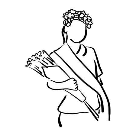 girl with flower crown and sash holding bouquet vector illustration sketch hand drawn with black lines isolated on white background Illustration