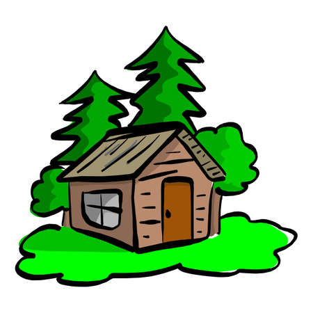 wooden cabin in the woods vector illustration sketch hand drawn with black lines isolated on white background Illustration