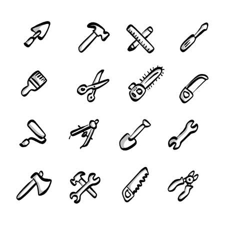 construction tools icons set with shadow vector illustration sketch hand drawn with black lines isolated on white background