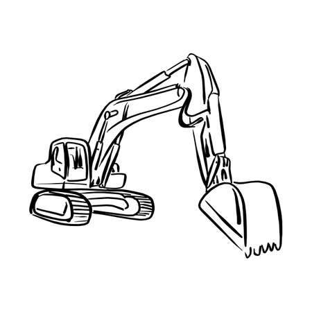 Doodle outline front hoe loader excavator vector illustration sketch hand drawn with black lines isolated on white background. Stock Illustratie