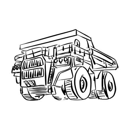 Doodle outline front view of big mining truck vector illustration sketch hand drawn with black lines isolated on white background.  イラスト・ベクター素材