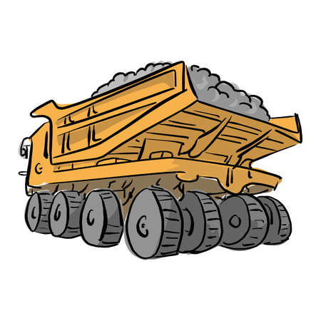 Loaded big yellow mining truck vector illustration sketch hand drawn with black lines isolated on white background. Illustration
