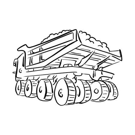 Outline doodle loaded big mining truck vector illustration sketch hand drawn with black lines isolated on white background.
