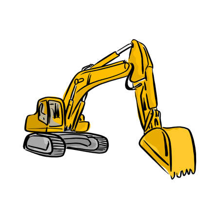 Yellow front hoe loader excavator vector illustration sketch hand drawn with black lines isolated on white background.