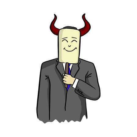 businessman with horn of devil holding smiling face mask vector illustration sketch hand drawn with black lines isolated on white background