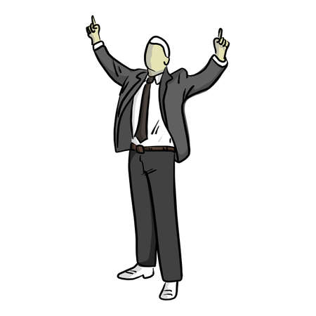 businessman with finger point up of two hands vector illustration sketch hand drawn with black lines isolated on white background Illustration