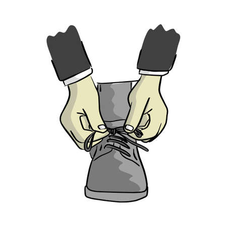 close-up businessman ties up shoelaces vector illustration sketch hand drawn with black lines isolated on white background Illustration