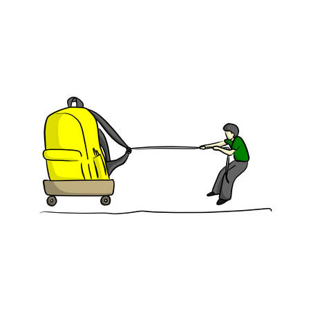 Male student boy trying to drag yellow big school bag to school vector illustration sketch hand drawn with black lines isolated on white background. Foto de archivo - 99464512