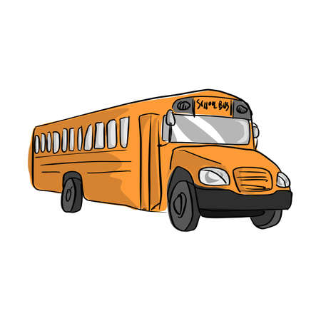 Yellow school bus vector illustration sketch hand drawn with black lines isolated on white background.