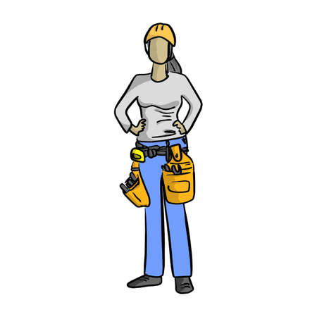 Female mechanic or plumber handyman vector illustration sketch hand drawn with black lines isolated on white background.