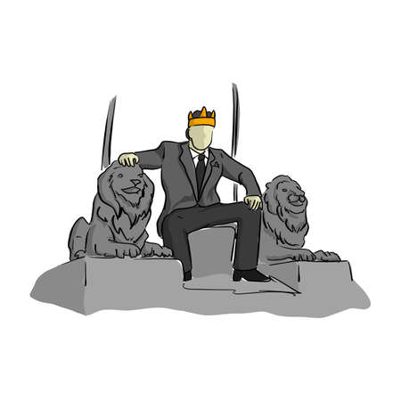 Businessman like a king sitting on throne chair vector illustration. Sketch hand drawn with black lines, isolated on white background.