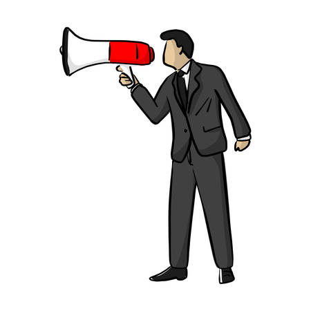 Businessman shouting over megaphone vector illustration sketch doodle hand drawn with black lines isolated on white background