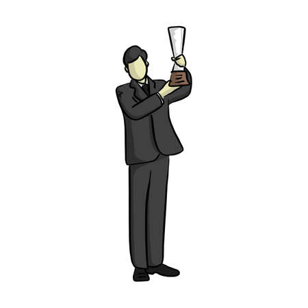 business man holding trophy with two hands vector illustration sketch doodle hand drawn with black lines isolated on white background