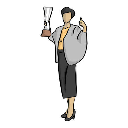business man holding trophy with thumb up vector illustration sketch doodle hand drawn with black lines isolated on white background Stock Vector - 100292856