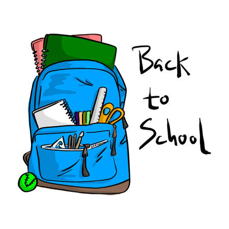 Blue school bag with items for students vector illustration sketch doodle hand drawn with black lines isolated on white background. Back to school concept.