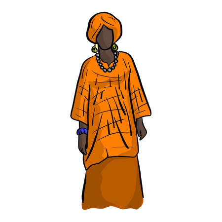 Woman with orange African local costume vector illustration sketch doodle hand drawn with black lines isolated on white background