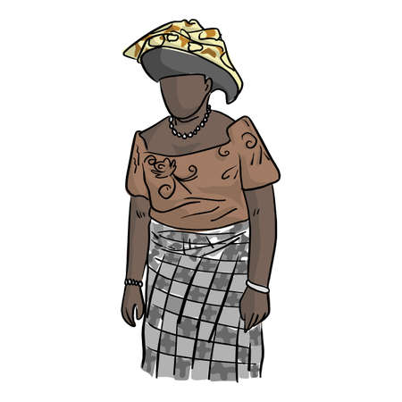 Fat African woman with local costume vector illustration sketch doodle hand drawn with black lines isolated on white background