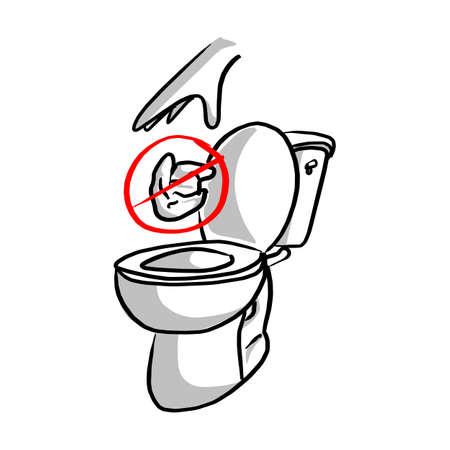 Veuillez ne pas jeter dans l'illustration vectorielle de toilette. Croquis doodle dessinés à la main avec des lignes noires isolés sur fond blanc Vecteurs