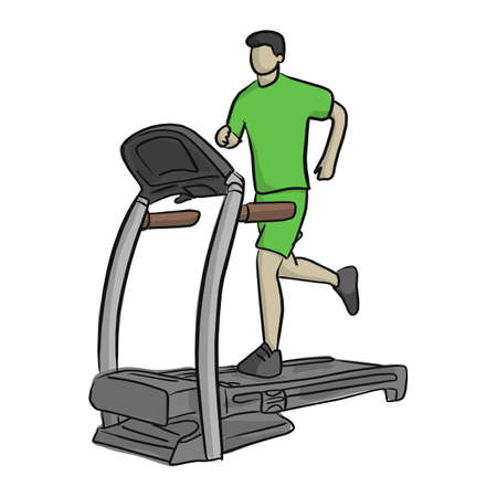 Man running in a gym on a treadmill vector illustration. Sketch doodle hand drawn with black lines isolated on white background. Concept for exercising, fitness and healthy lifestyle. Illustration