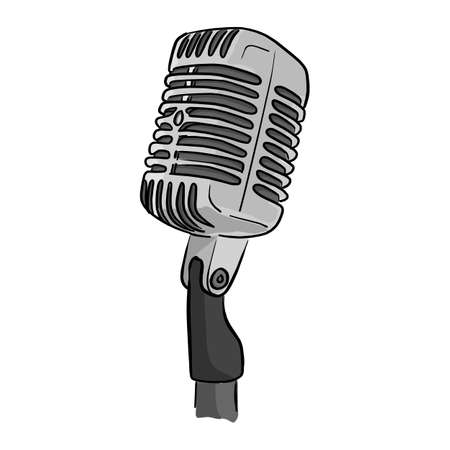 Retro style classic microphone with the word on the air vector illustration sketch doodle hand drawn with black lines isolated on white background Illustration